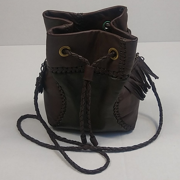 Braided Faux Leather Brown / Olive Boho Purse